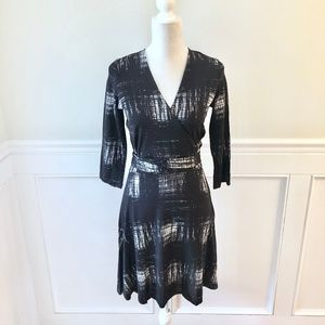 LEOTA Wrap Dress NWOT Black & White Graphic Print